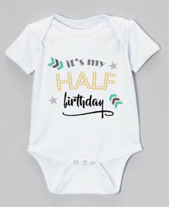Unisex new baby clothing vest babygrow HALF BIRTHDAY bodysuit 6 months old