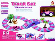 Interactive Pink Flexible Variable Track Set 154 Pcs w/car Girls Edition