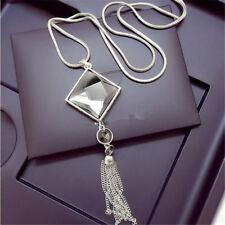 Women Square Big Drop Crystal Pendant Long Fashion Sweater Tassel Chain Necklace