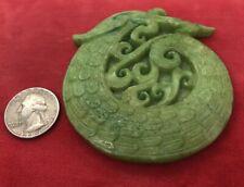 Vintage antique Jade Carved Pendant Green Gemstone Estate Dragon Huge! 74 Grams
