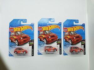 HOT WHEELS  2020  LOT OF 3  RED 85 Honda City Turbo II   Case G