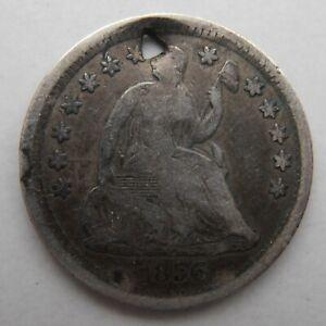 USA SILVER HALF DIME 1856 HOLED