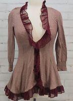 GUINEVERE Anthropologie Wrap Cardigan Knit Top Ruffle Edge Burgundy Stripe Sz XS