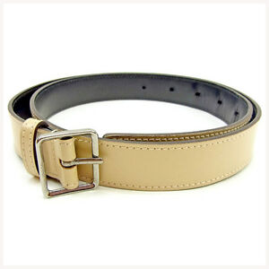 Gucci belt Beige Silver Woman unisex Authentic Used Y7329