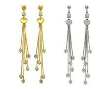 14K Solid Yellow White Gold Women CZ Heart Dangle Drop Earrings
