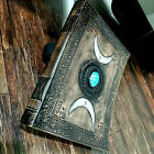 """11"""" BigHandmade Leather Journal Triple Moon Solar Turquoise Stone Diary Notebook"""