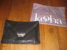 Kooba Black Leather Lyndi Clutch,removable adjustable strap,twill lining,dustbag