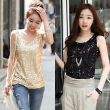 Harajuku Women Vest Bottoming Clothes Summer Slim Sexy Casual Sequins Tanks Y2