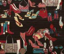Fashionista black handbag purse shoes Alexander Henry retro fabric