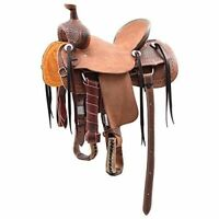 Western Natural Leather Hand Tooled Roper Ranch Saddle with Leather Strings 16""