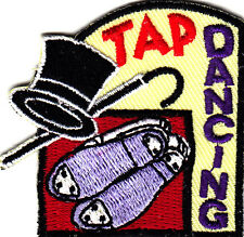 """TAP DANCING"" w/Hat, Cane & Shoes - Iron On Embroidered Patch/Dance"