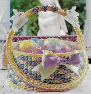 FANCY EASTER BASKET WITH BUNNIES PLASTIC CANVAS PATTERN INSTRUCTIONS