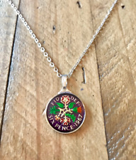 1967 ENAMEL SIXPENCE COIN PENDANT & NECKLACE. BRIDAL NECKLACE JEWELLERY