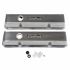 Edelbrock 4263 Elite II Polished Aluminum Valve Covers Small Block Chevy V8's