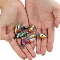 10Pc Random Fishing Lures Kinds Of Minnow Fish Bass Tackle Hooks Baits Crankbait