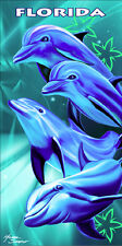 "Dolphins Towel Florida Flipper Happy Deep Sea Ocean Beach Pool Souvenir 30""x60"""