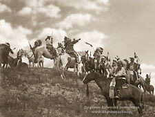 Restored Vintage Native American Indian Photograph SIOUX WARRIORS RIDING HORSES