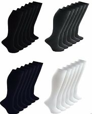 6X New Ladies Girls Boys Kids Knee High Long Plain Uniform Cotton rich Socks