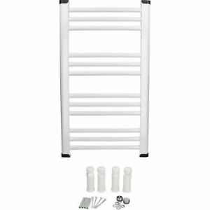 700 x 400mm White Flat Towel Radiator Heated Rack Wall Mounted Brackets