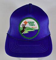 Vintage Goshen Scout Camps BSA Trucker Hat, Blue Mesh Back, Snapback NCAC