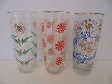 SET OF 3 x VINTAGE / RETRO GLASS TUMBLERS - DIFFERENT DESIGNS
