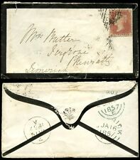 Irlanda PENNY RED lcp14 IG su 1857 lutto BUSTA newross a Limerick
