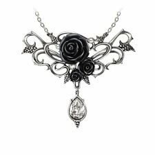 Alchemy Gothic Bacchanal Black Rose Pendant Necklace Pewter Crystal P700