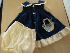 GIRLS SIZE 18 MONTHS 2PC DENIM & YELLOW BEAR FLORAL SUMMER DRESS - VERY CUTE!