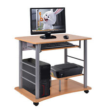 Rolling Computer Desk Laptop PC Table Workstation Study Home Office Furniture