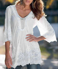 White Ladies SUMMER Tops 3/4 Sleeve Lace Shirt Casual Blouse Tops Summer T-Shirt