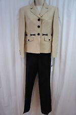 Kasper Petite Pant Suit Sz 10P Khaki Black Indian Summer Business Pant Suit