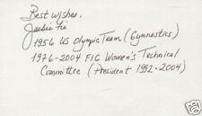 Jackie Fie signed autograph 3x5 card Olympic Gymnastics