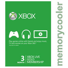 Xbox Live Gold 3 Month Membership for Microsoft Xbox One / Xbox 360 Instant - UK