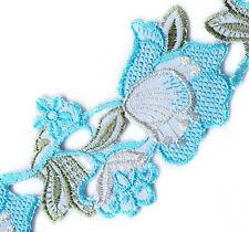 Baby Blue Embroidered Flowers On White Velvet. Ribbon. Trim