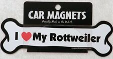 Dog Magnetic Car Decal, Bone Shaped, I Love My Rottweiler, Made in USA, 7""
