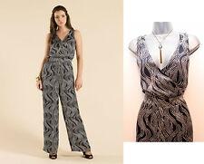 MONSOON Women's Navy Ivory Essouira Wrap Bodice Beautiful Jumpsuit Size 8 EU-36