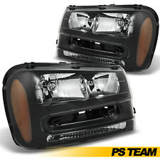 Black Headlights Headlamps Left & Right Pair Set For 2002-2009 Chevy Trailblazer