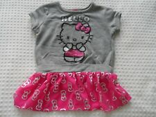 Girl's size 6-6X Hello Kitty Gray & Pink Sort Sleeve Dress with Portrait