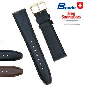 Banda Premium Grade Smooth Calfskin Fine Leather Watch Band, Sizes 8 - 24mm