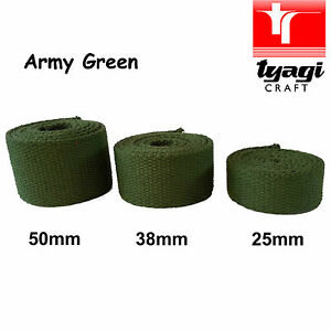 """Canvas Army Green Military 25mm 38mm 50mm Wide 1"""" 2"""" Inch Bag Strap Belt Thick"""