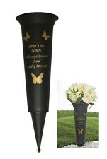 Special Nan Gold & Black Verse Grave Memorial Grave Spiked Flower Plastic Vase