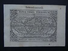 1609 LANGENES  Atlas Hondius WORLD map TYPUS ORBIS TERRARUM - Le Monde Universel