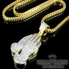 New Yellow Gold Finish Over .925 S Silver Genuine Diamond Praying Hand Necklace