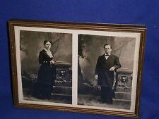 Vintage Small Portrait Framed Photo o George C Adams & Wife Sarah c1878 7½x5½in