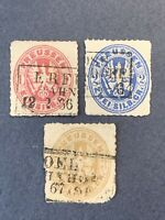 1861 Old Germany ,Prussia Stamps Sc#17,18 ,20