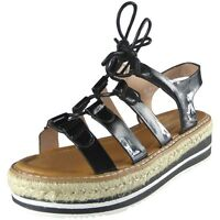 New Womens Ladies Strappy Lace Up Espadrilles Platform Shoes Wedge Sandals Size