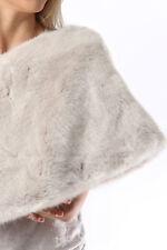 Bride Bridesmaid Faux Fur Stole Pearls White Scarf Shawl Wrap Ivory Bolero Cape