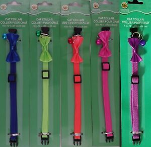 CAT COLLARS SPANDEX QUICK-RELEASE BUCKLE ADJUSTABLE BELL & BOW, SELECT: Color