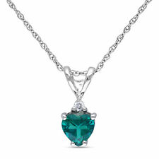 Amour 10k White Gold Created Emerald and Diamond Accent Heart Necklace