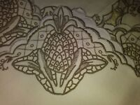 "11 Pineapple Design Antique Madeira Cutwork and Embroidered Napkins 16"" by 16"